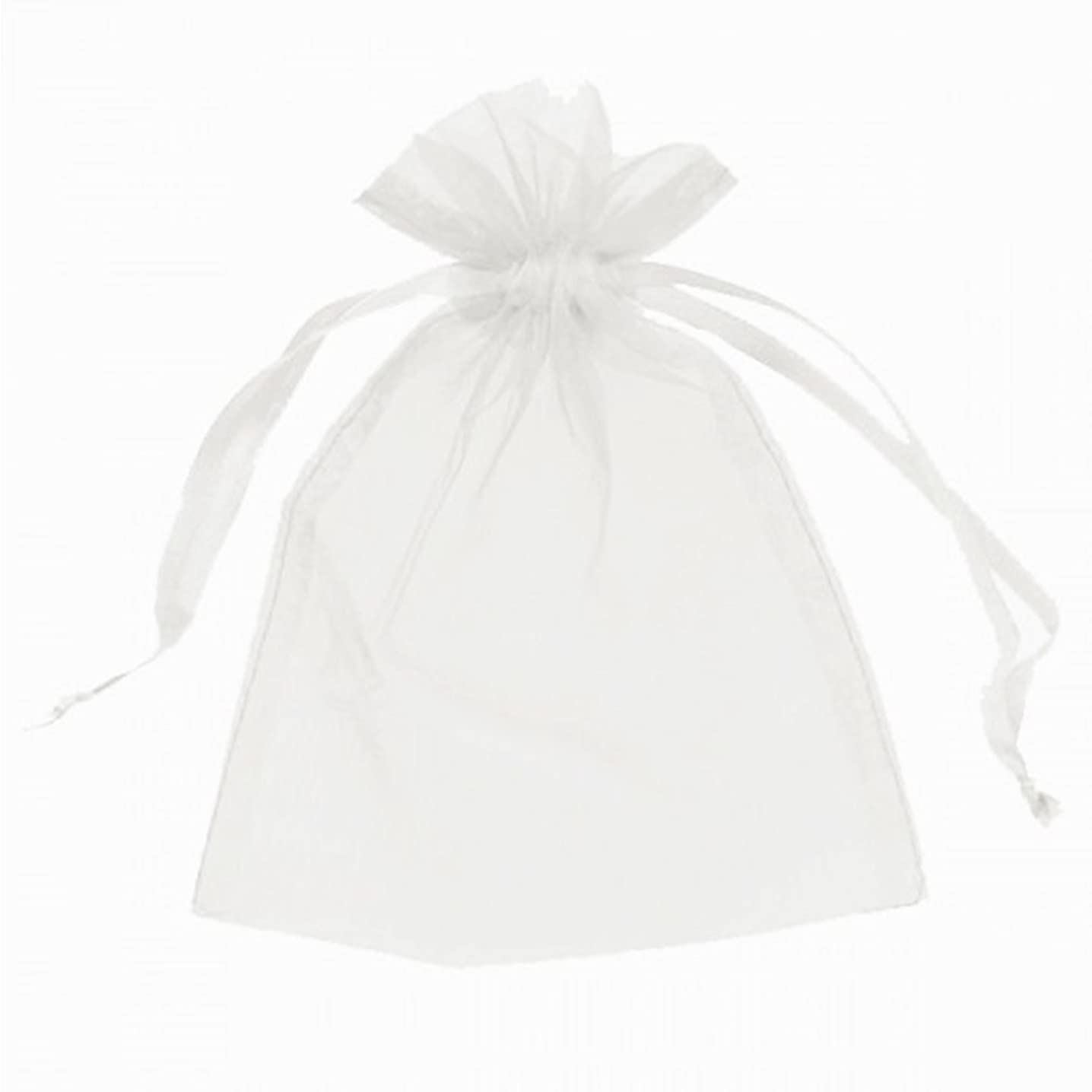 100 pcs Sheer Organza Drawstring Pouches Gift Bags White Color 3x4 Inches