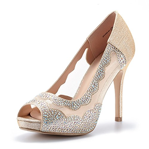DREAM PAIRS Women's Divine-01 Gold High Heel Pump Shoes - 7.5 M US