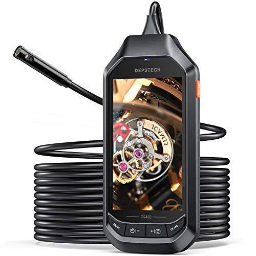 DEPSTECH HDデジタル内視鏡 デュアルレンズ 1080P 検査カメラ 工業用内視鏡 4.5インチIPSスクリーン付き 8MM 超薄型レンジ 防水検査カメラ 6つの調整可能なLEDライト ボアスコープ SDカード付き 年末大掃除/排水口/車/設備の点検 5M
