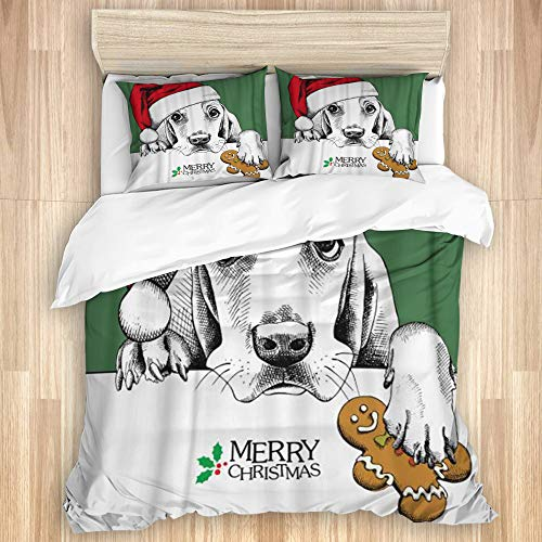 ZORMIEY Cotton Duvet Cover Set,Christmas Dog Basset Hound Portrait in Santa's Hat Gingerbread,3 Pieces Luxury Soft Bedding Set King Size(No Comforter)