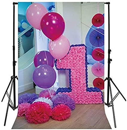 SZZWY 5x5ft Vinyl Photography Backdrop 1st Birthday Interior Decorations Balloons Wood Floor Fireplace Cake Smash Photo Background Children Baby Adults Portraits