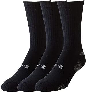 Men's HeatGear Crew Socks (2 PK (6 Pairs) Large, Black)