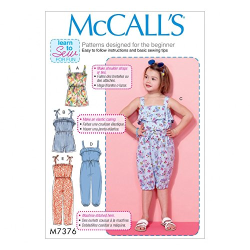 McCall 's Mädchen Easy Learn To Sew Schnittmuster 7376Eternit Blouson Mieder Strampelanzug & Jumpsuits
