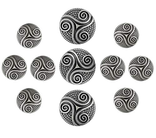 Bezelry Roped Celtic Triple Spiral Gray Silver Color Metal Shank Blazer Button Set. (Gray Silver, Set 18mm and 25mm)
