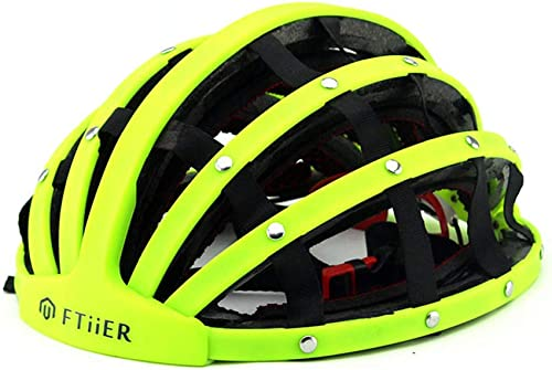 Member fürradhelm, der tragbaren Erwachsenen Mountainbike-Helm faltet ABS-Schalensicherheitssport-Unisex-Offroad-fürradhelm mit 31 Lüftungs nungen, gebrochenem Windschwanz,Grün