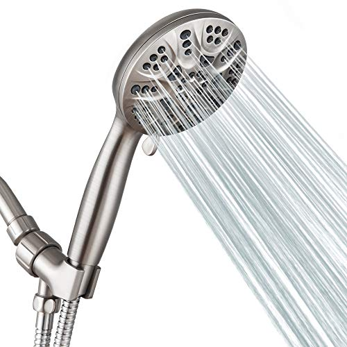 the best showerheads of 2021 6 Functions Handheld Shower Head Set, California Compliant 1.75 GPM, HOPOPRO 2021 Newest High Pressure Full Brushed Finish Shower Head High Flow Hand Held Showerhead for Luxury Shower Experience