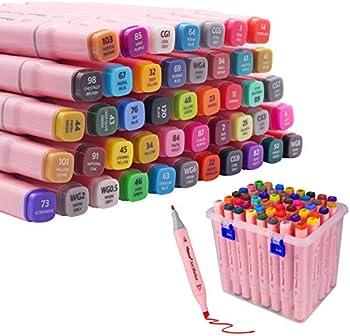 Vbeca 48-Color Alcohol Marker Pen Set
