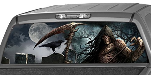 MotorINK Grim Reaper Cemetery Flaming Flame Rear Window Graphic Decal Tint Sticker Truck SUV glasscape (22'x65' Large)