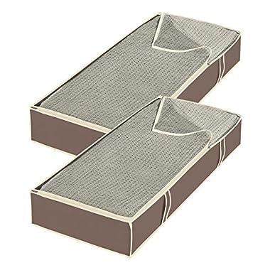 Whitmor Jumbo Underbed Bags - Zippered Storage Organizer - Java (Set of 2)