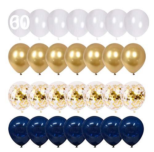 Globos negros y dorados, paquete de 60 globos de confeti dorados de 12 pulgadas, globos de fiesta de látex cromado metálico de confeti de oro blanco, para bodas, decoraciones para fiestas