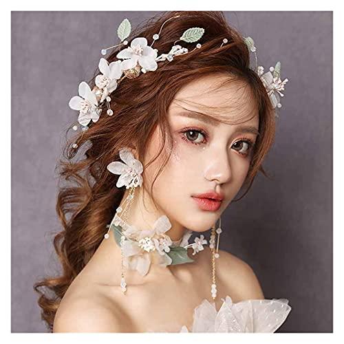feichang Diadema y pendientes coreanos para mujer, juego de boda, tiaras, corona de novia, flor, tocado para el pelo, perlas, corona DIDEM Crown