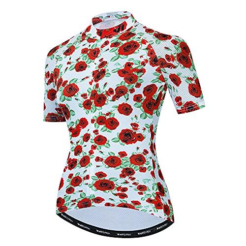 Lo.gas - Maillot de ciclismo para mujer, manga corta, transpirable, 4 bolsillos...