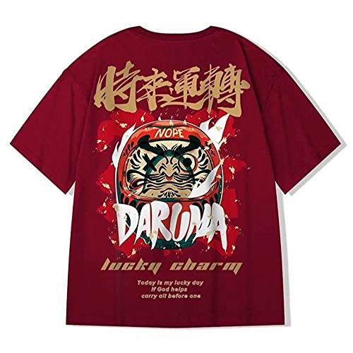 KAL'ANWEI Hombres Camisetas Hip Hop tee Style Chinese Tide Marca Marca Media Manga Top Casual Streetwear Tshirt De Algodón De Gran Tamaño-Vino Tinto_L
