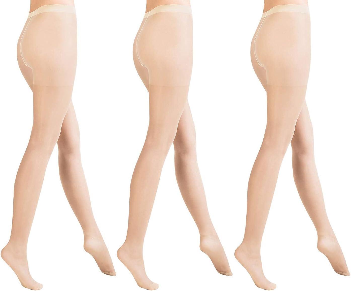 Aurellie Classic Lycra Sheer Plain 15 den Pantyhose (US sizes 4-16) packs of 3