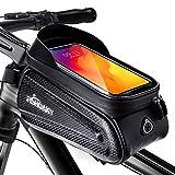 fishoaky borsa telaio bici, impermeabile borsa da manubrio per biciclette, touch scree porta telefono mtb per phone xs/x/samsung s9/s8 fino a 6,5 (nero aggiornato)