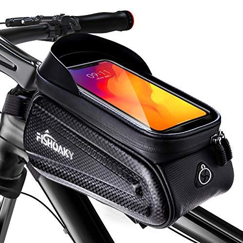 FISHOAKY Borsa Telaio Bici, Impermeabile Borsa da Manubrio per Biciclette, Touch Scree Porta Telefono MTB per Phone XS/X/Samsung S9/S8 Fino a 6,5' (Nero aggiornato)