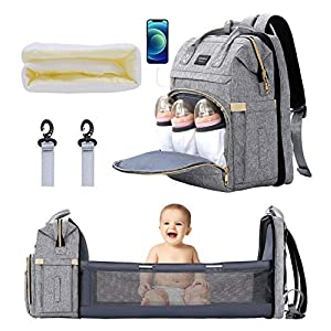 Xinsilu All in 1 Diaper Bag Backpack Foldable Baby Bed, Diaper Changing Station with USB Charging Port, Waterproof Multi-Functional Girl Boy Dad Mom Travel Baby Diaper Bag, Large Capacity, Gray