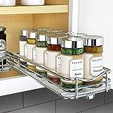 Lynk Professional Slide Out Spice Rack Upper Cabinet Organizer, 4-1/4' Single, Chrome