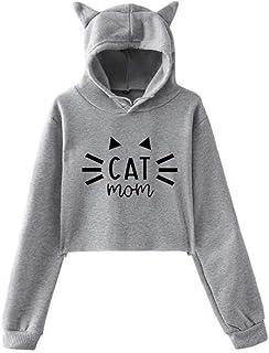 Yihome Women's Tops, Winter Personality Cat Ears Lumbar Loose Fleece Hooded Sweatshirt