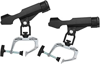 D DOLITY 2pcs Fishing Support Rod Holder Bracket (G Clamp On 1-3/4 inch Openinng), 360 Degrees Rotatable Rod Holder for Boat/Sea/Raft Fishing