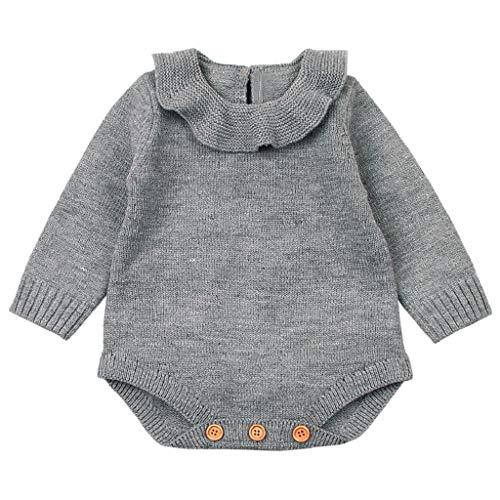 QUICKLYLY Mameluco Punto Invierno Recién Nacido Bebé Niño Niña Manga Larga Elástico Mono Peleles Ropa (Gris, 12~18 Meses(90))