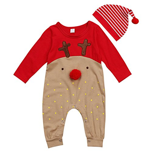 Deylaying Bambino Vestiti di Natale Neonati Ragazzi Ragazze Babbo Alce Manica Lunga Pagliaccetto Tutine + Cappello Sets Bambini Inverno Autunno Natale Festa Outfits
