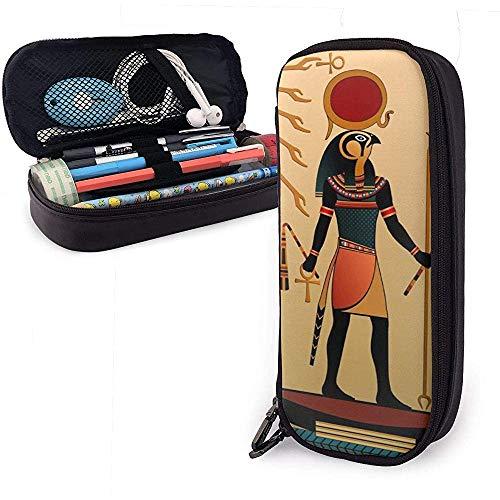 Antieke figuur zon, Egyptische religie, schattig, etui van leer, etui voor potloden met dubbele ritssluiting, opbergdoos voor meisjes jongens en volwassenen