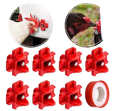 DSSPORT Chicken Waterer Chicken Nipple Poultry Waterer with Horizontal Side Mount-Drinker Waterer for Chicken