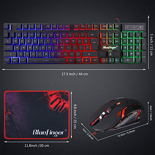 BlueFinger RGB Gaming Keyboard and Backlit Mouse Combo, USB Wired Backlit Keyboard, LED Gaming Keyboard Mouse Set for Laptop PC Computer Game and Work