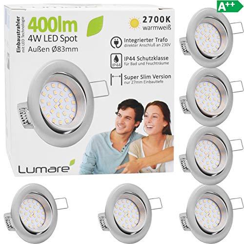 6x Lumare LED Einbaustrahler 4W 400 Lumen IP44 nur 27mm extra flach Einbautiefe LED Leuchtmodul austauschbar Deckenspot AC 230V 120° Deckenlampe Einbauspot warmweiß silber rund Badezimmer
