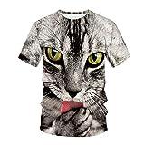 T-Shirt Gato Mangas Cortas Impresas en 3D Rimavera y Verano Camiseta Manga Corta Hombre Gato Camisetas Suéter 3D Patrón Impreso Lindo Gatito,Disfraces de Pareja Románticos y Tiernos(L)