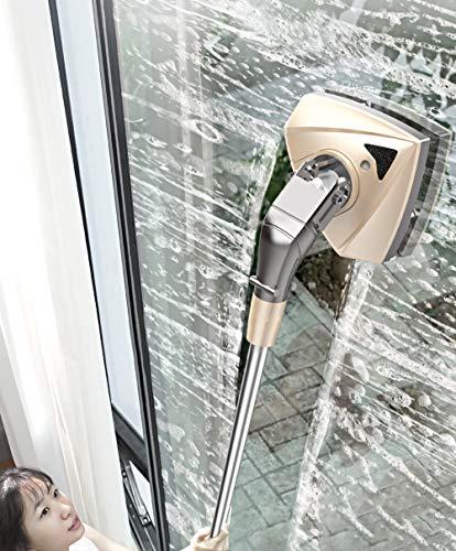 Limpia Cristales Magnetico,Limpiacristales Magnético Con 157 Cm Varilla Telescópica,Limpiaparabrisas Con Cuerda Anticaída,Limpiador...