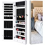 Homfa Lockable Jewelry Cabinet, Full Screen Display View Mirror, Door Mounted Jewelry Organizer Large Capacity Dressing Makeup Jewelry Armoire with 2 Drawers & 5 Shelves (White)