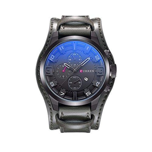 CURREN Reloj de pulsera de cuero clásico militar para hombre, calendario, visualización de fecha (gris)