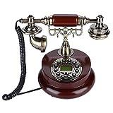 Goshyda Teléfono con Cable, Retro Vintage Refinado FSK/DTMF Sistema Dual Teléfono Fijo con Cable y Alfombrilla Antideslizante, para Office Home Hotel