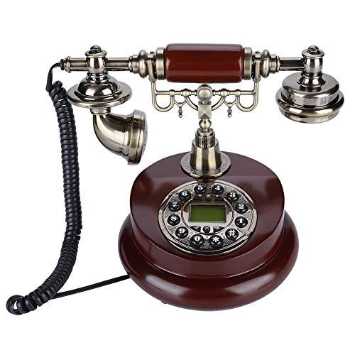 Telefono Fijo Retro, Teléfono Fijo Vintage con Cable, Teléfono Fijo Sobremesa, Sistema Dual FSK/DTMF con Función de Rellamada para Oficina, Hogar