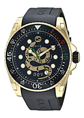 Gucci Uhr Dive 45 mm gehuse Edelstahl Gold Armband Zinn und Gummi YA136219