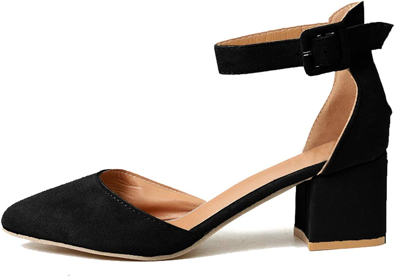 YUhe2018Cw Womens Heeled Ankle Buckle Block Pointed Toe Cut Out Pumps Sandals Black 38