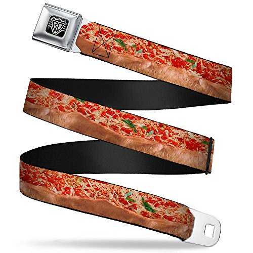 Buckle-Down Unisex-Adult's Seatbelt Belt Pizza Regular, Chicago Style Vivid, 1.5' Wide-24-38 Inches