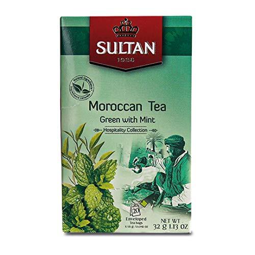 SULTAN TEA Marokkanischer Grüntee mit Minz Kräutertees (Einzelpackung - 20 Teebeutel)
