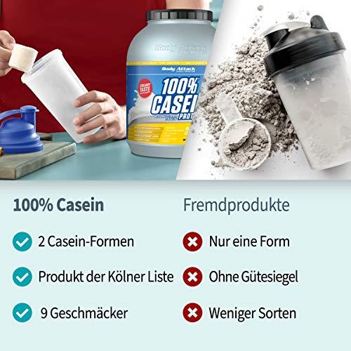Body Attack 100% Casein Protein Cookies & Cream, 1er Pack (1 x 1.8 kg) - 5