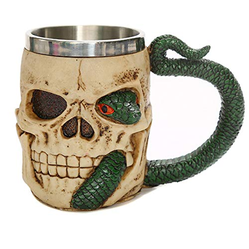 WXYNT Personality Skeleton Skull Sculpture Cup,Green Snake Cup Handle,Multifunction Resin Crafts Skeleton 16x8.5x11.5cm(6x3x5inch)