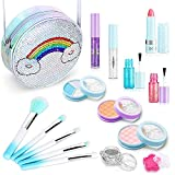 JoinJoy Washable Makeup Toy Set for Girls - Real Make Up Kit for Kids, Princess Play Makeup Set for 5 6 7 8 9 10 Years Old, Beauty Gift Set for Birthday Christmas with Reusable Cosmetic Case Blue