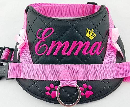 Hundegeschirr S M L XL XXL Name bestickt Kunstleder schwarz rosa für kleine mittelgroße und große Hunde
