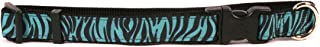 طوق للكلاب من يلو دوج ديزاين مزيّن بشريط من الحرير المضلع باللون الأخضر الضارب إلى الخضرة Medium 3/4 ZBT251