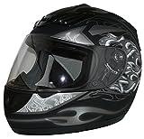 Protectwear Casque de moto intégral, noir mat / flammes grises, H-510-GR, Taille: M