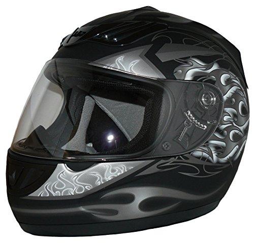Protectwear H-510-GR-L Motorradhelm, Integralhelm mit Flammendesign in Schwarz-Silber-Weiß-Matt, Größe L