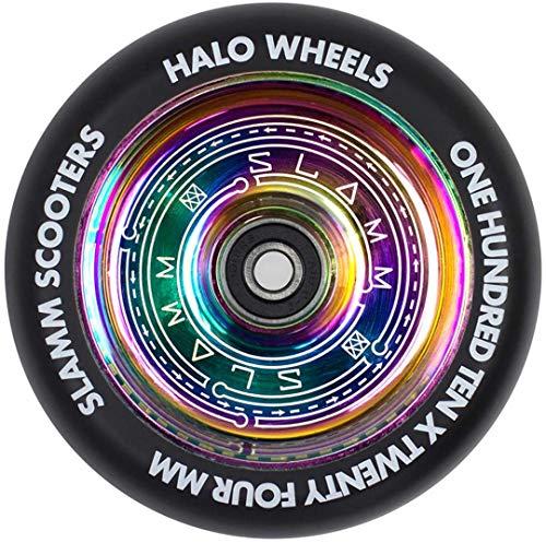 Slamm Scooters Halo Deep Dish Ruedas de Patinete Patinaje, Adultos Unisex, Multicolor (Neochrome), 110 mm