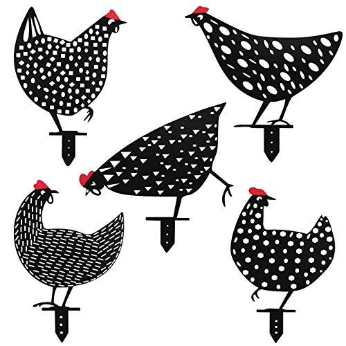 5Pcs Galline Decorative Giardino, Chicken Yard Art Garden Lawn Floor Decorazione Ornamento, Scava fuori l'arredamento a forma di animale Nuovo