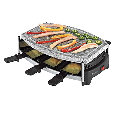 Raclette Grill 6 Personen Tischgrill Elektrogrill Grillplatte Heißer Stein (6 Pfännchen, 650 Watt, Antihaftbeschichtung, Party Grill)